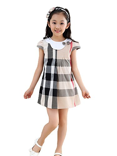 Girls Plaid Dress (MIQI Girls Sleeveless Plaid Swing Dress Casual Tutu Sundress (8-9 Years, Khaki10))