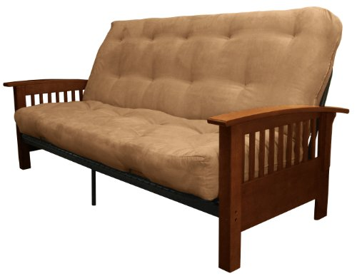Epic Furnishings Brentwood Mission-Style 8-Inch Loft Inner Spring Futon Sofa Sleeper Bed, Queen-size, Walnut Arm Finish, Microfiber Suede Mocha Brown Upholstery