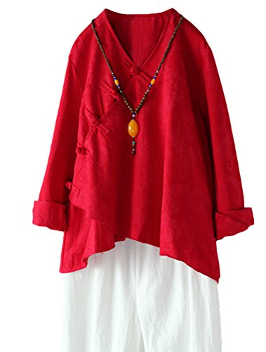 Minibee Women's Long Sleeve Linen Retro Chinese Frog Button Tops Blouse Red L