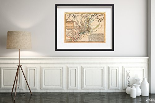 1729 Moll of New York, New England, and Pennsylvania (First Postal of New England) Map|Historic Antique Vintage Reprint|Size: 18x24|Ready to Frame ()