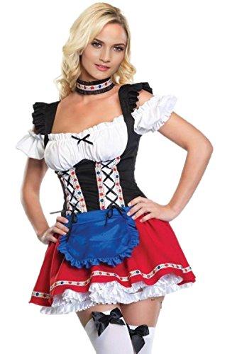 JJ-GOGO Women Halloween Oktoberfest Sexy German Beer Girl Costume (Sexy German Costume)