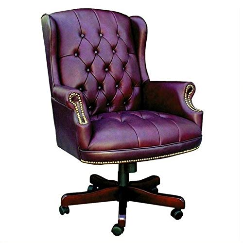 Boss Office Products Wingback Traditional Chair in Burgundy (Back Leather Wing Chair)