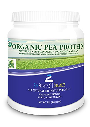 Organic Pea Protein Powder. USDA Certified ONLY from USA and Canada Grown Peas. No GMO, Soy or Gluten. Vegan. Full Spectrum Amino Acids (BCAA). More Protein than Whey. 80% Protein. ()