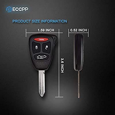 ECCPP 1X 4 Buttons Replacement Uncut Keyless Entry Remote Control Car Key Fob Shell Case for Chrysler 300/ Dodge Charger Dakota Durango Magnum/Jeep Grand Cherokee Commander OHT692713AA KOBDT04A: Automotive