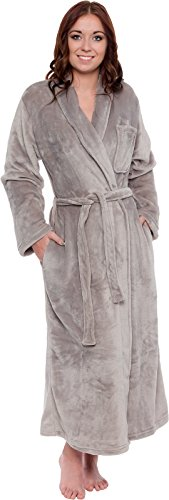 Silver Lilly Women's Full Length Luxury Long Bathrobe - Soft Plush Comfy Long Robe (Sizes Small - Plus Size XXL) (Light Grey, Large/X-Large)