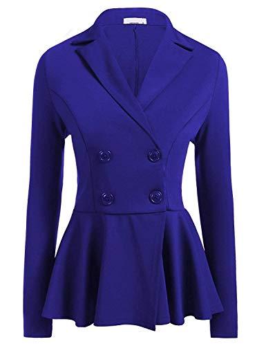 Cappotto Di Ufficio 1 Donna Tailleur Blazer Eleganti Marca Mode Giacca Moda Pieghe Slim Casual Autunno Lunga Con Fit Giacche Primaverile Business Manica Blau Colore Bavero Puro Da Button Pw4wp