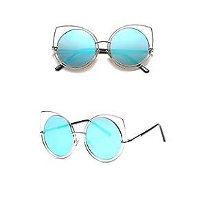 Ablaze-Jin sunglasses lady bright cat eye frame sunglasses personality metal frame sunglasses