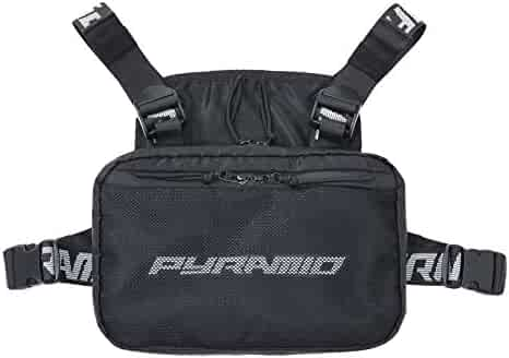 Black Pyramid Fashion Chest Front Pack Pouch Holster Rig, Black