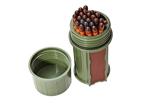 UCO Stormproof Match Kit with Waterproof Case, 25 Stormproof Matches and 3 Strikers - Dark Green Rocky Striker