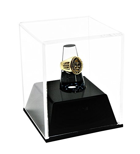 Deluxe Clear Acrylic Championship School Ring Display Case with Drawer and Clear Acrylic Ring Holder (A064)
