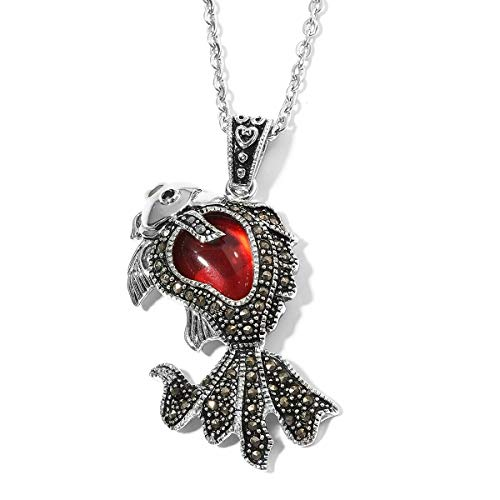 Red Glass Marcasite Fish Chain Pendant Necklace Gift Jewelry for Women 20
