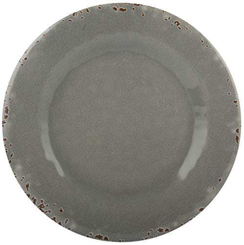 Gray Salad Plate - Melange 6-Piece 100% Melamine Salad Plate Set (Rustic Collection)   Shatter-Proof and Chip-Resistant Melamine Salad Plates   Color: Light Gray