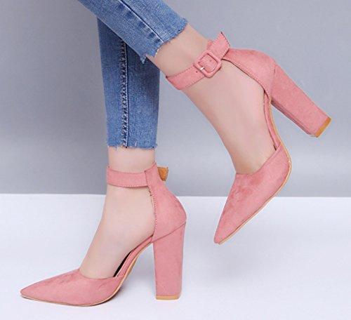 Rosado Tacones Comodidad Zapatos Gruesos Boda Hebilla Las Ante Sandalias De Mujeres Zhhzz Formal Classic Atractivas Pie Del Abiertos La Dedo Sólidos Partido Liangxie BdxwqpAB