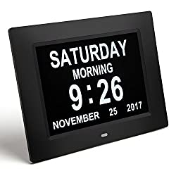 amovee Day Clock Calendar Day Digital Alarm Clock with Extra Large Non-Abbreviated Display for Elderly, Vision Impaired, Dementia, Memory Loss, Black