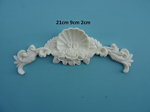 Decorative large rose shell center applique onlay furniture moulding O57A