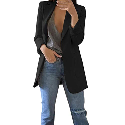 GIFC Fashion Women Autumn Winter Solid Long Sleeve Office Coat Cardigans Suit Long Jackets Blouses - Jersey Ribbed Gap