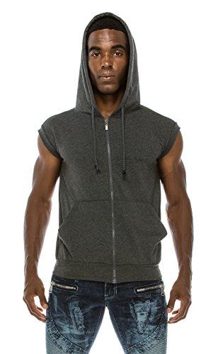 Angel Cola Men's Sleeveless Hoodie Zip Up Vest PT601 Charcoal XL