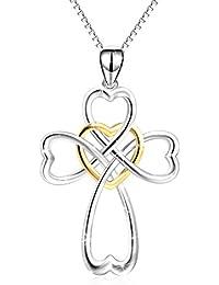 "Sterling Silver Love Heart Irish Celtic Knot Cross Pendant Necklace 18"""