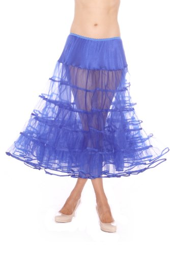 Lindy Hop Dress Costume (Top Rated Womens Crinoline Petticoat Underskirt for 50s Poodle Skirt Costume or prom or vintage dresses, by Malco Modes. Tulle tutu skirt, bridal petticoat. Plus size petticoat available Royal Blue)