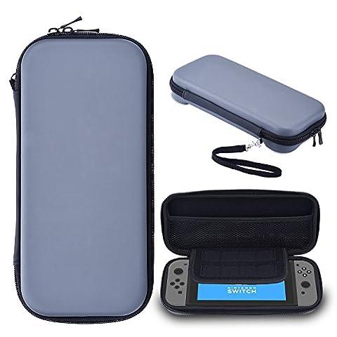 Blulu EVA Hard Shell Tough Pouch Carrying Case for Nintendo Switch, Grey