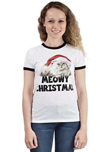 (Women's Slim White Meowy Christmas Cat T-shirt Ringer Tee Large)