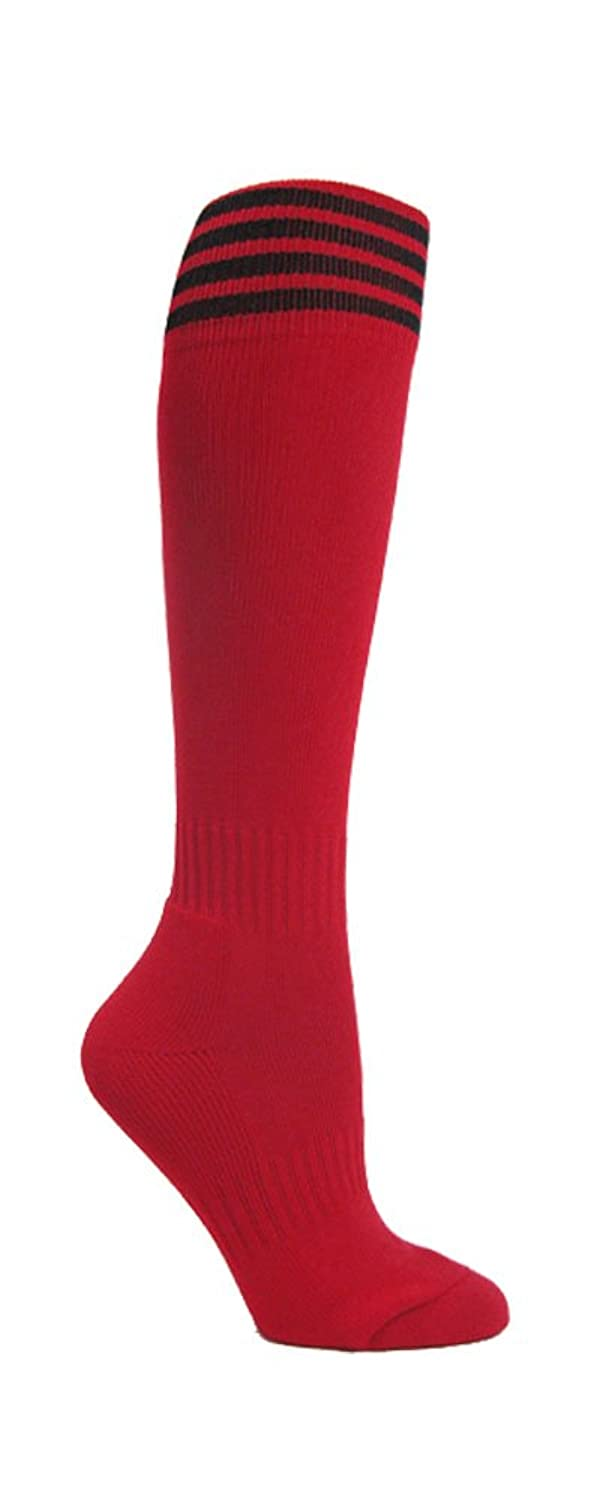 Nice Couver 4 Stripes Youth Football Soccer Sport Red Knee High Socks(1 Pair)