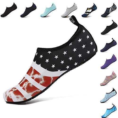 VIFUUR Footwear Indoor Slipper Yoga Sock Shoes Comfort Water Shoes for Men Women Flagblack