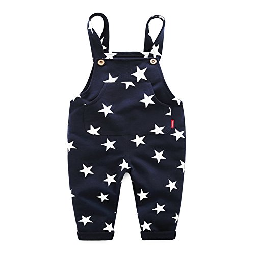 Mud Kingdom Cotton Bib Overalls for Baby Boys Cute Star 24 Months Navy - Boys Overalls Cotton