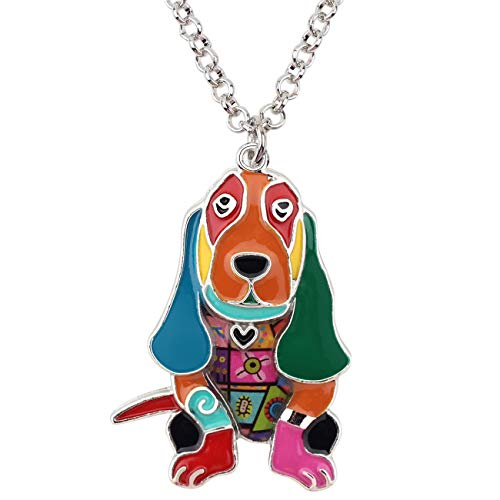 Bonsny Alloy Enamel Basset Hound Dog Necklace Pendant Lover Pets Light Jewelry for Women Girl Charm Gift (Multicolor) (Basset Hound Necklace)