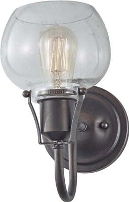 "Feiss P1234RI Urban Renewal Glass Industrial Vintage Pendant Lighting, Iron, 1-Light (8""W x 8""H) 100watts"