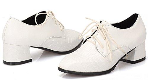 Blanc Carreaux Richelieus Carré Bout Aisun Femme Derbies Classique Lacets q7fZ8gUw