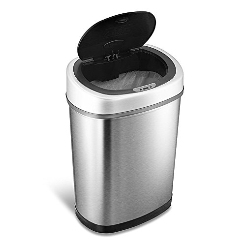 Ninestars DZT-42-9 Automatic Touchless Motion Sensor Oval Trash Can, 11.1 Gal. 42 L, Stainless Steel Touchless Electronic
