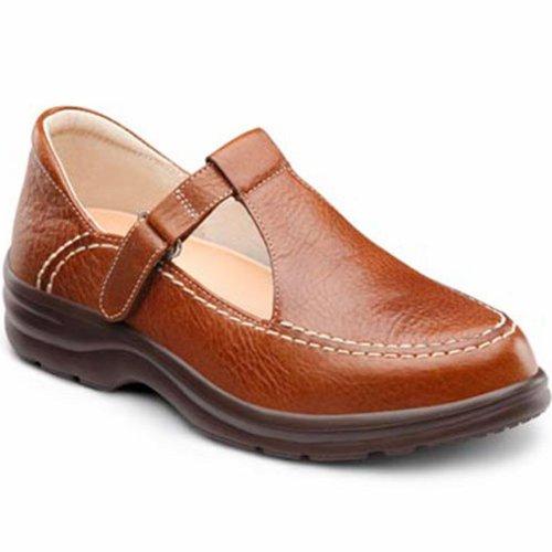 Dr. Confort Lu Lu Womens Thérapeutique Diabétique Extra Profondeur Chaussure Cuir Velcro Châtaigne
