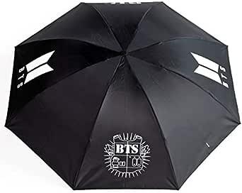 BTS Strong Windproof black Travel Folding Umbrella Sunshade, Three Folding, Light Weight