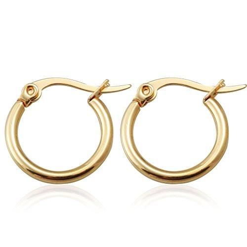 FUNRUN JEWELRY Stainless Steel Hoops Womens Mens Huggie Earrings Small,12mm,15mm,20mm (Hoop Earrings Small Gold)