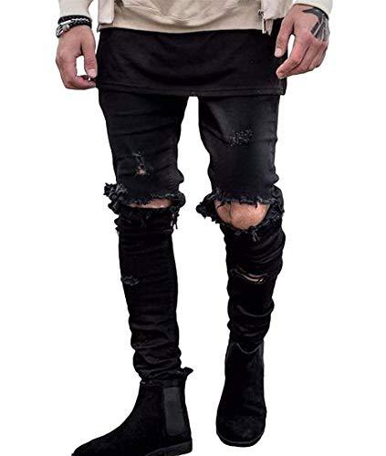 Strappato Pantaloni Semplice Buco Jeans Strappati Uomo Da Moda Con Skinny Vintage Design Nero Denim Yqzq0w