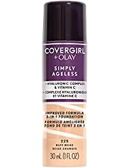 COVERGIRL + Olay Simply Ageless 3-in-1 Liquid Foundation, the #1 Anti-Aging Foundation Now In A Liquid, Buff Beige Color, 1 Count (packaging may vary)
