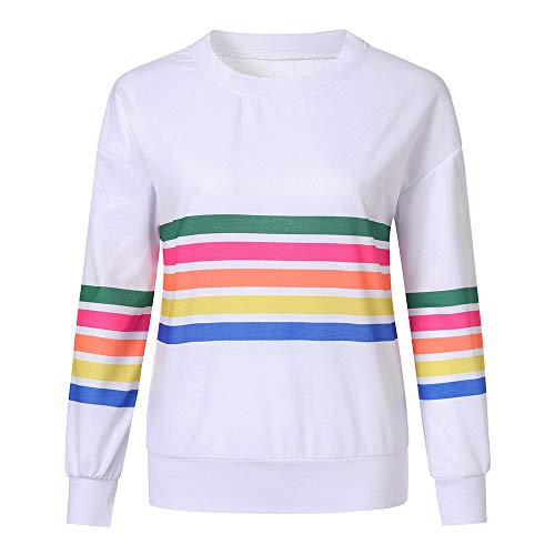 Kemilove Women Round Neck Simple Color Casual Long Sleeve Stripe Print Pullover Blouse Shirts Sweatshirt by Kemilove (Image #2)