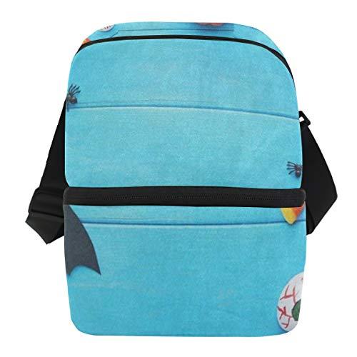 Lovexue Lunch Bag Black Bat Pumpkin Blue Wooden Halloween Portable Cooler Bag Adult Leakproof Food Storage Zipper Tote Bags for Travel -