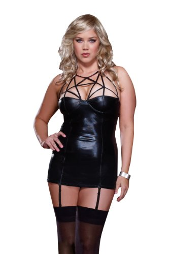 Dreamgirl Women's Queen Plus-Size Caged Heat Strappy Microfiber Chemise & Thong