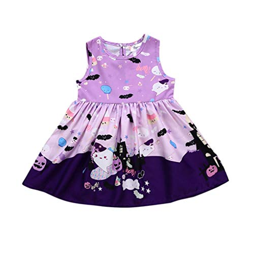 XILALU Infant Baby Girls Halloween Dresses, Toddler Cute Ghost Pumpkin Print Cotton Costume Outfits Clothes(12M-5T)]()