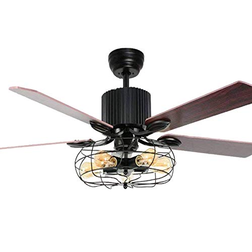 52 inch Ceiling Fans with 5-Lights by Pull Rope Ceiling Fan Chandelier Cage Retro wood blade for Dining/Living Room Bedroom