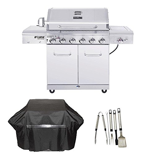 Nexgrill Deluxe 6-Burner Propane Gas Grill in Stainless Steel with Ceramic Searing Side and Rotisserie Burner Cover