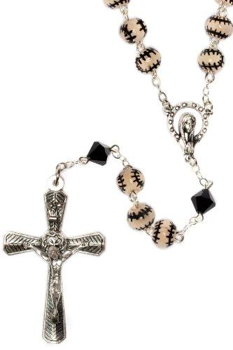 Baseball Rosary, Baseball Sport Rosary made with Ceramic Sport beads and Swarovski Crystal elements