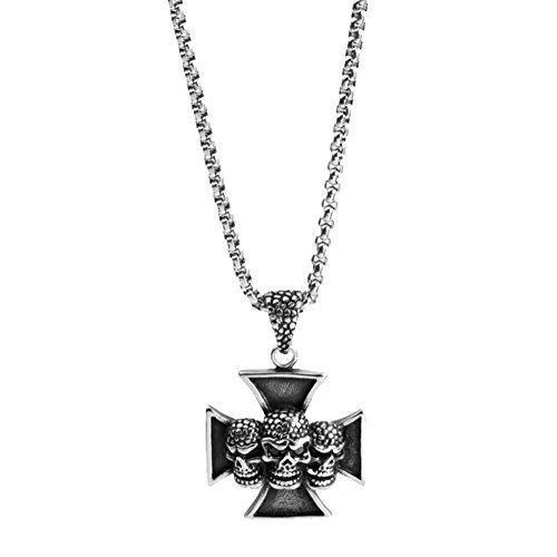 Tian qi stainless steel necklace retro fashion titanium steel pendant Cross skull