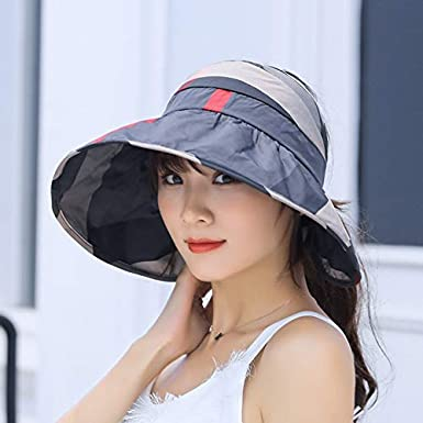 ACDGS Chapeau de Soleil Femme /ét/é Version cor/éenne du Chapeau de Soleil Vide visi/ère sup/érieure Couverture de Voyage en Plein air Face Face Chapeau de Soleil Se Pliant Anti-UV