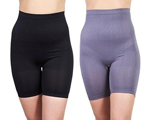 FIX-Shapewear Womens 2Pack Long Leg Seamless Firm Control Compression Shorts Undies Grey/Black Size 2X