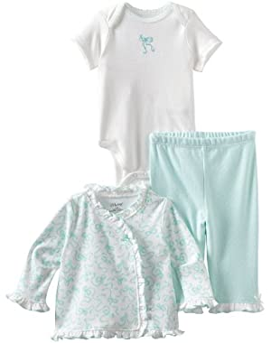 Baby-Girls Newborn Ribbon Bows Take Me Home Sleepwear Set