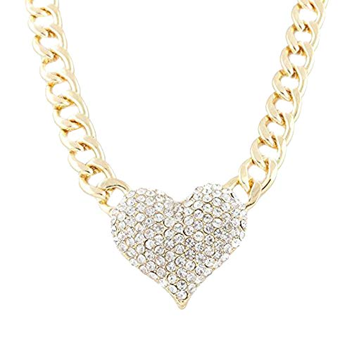 Yanvan Women Lady 3D Heart Pendant with a 16 Inch Adjustable Link Chain Necklaces