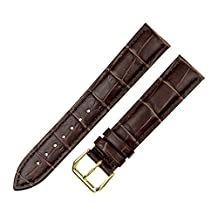 RECHERE Alligator Crocodile Grain Leather Watch Band Strap Gold Pin Buckle Color Brown (width 18mm)